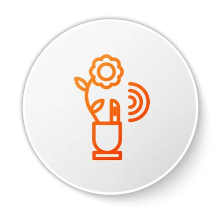 Orange line Smart farming technology - farm automation system in app icon isolated on white background. White circle button. Vector Illustration Vettoriali