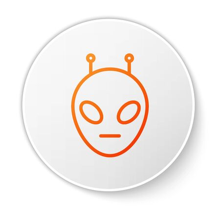 Orange line Alien icon isolated on white background. Extraterrestrial alien face or head symbol. White circle button. Vector Illustration