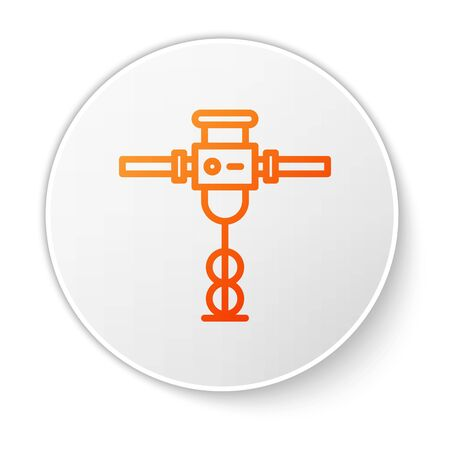 Orange line Construction jackhammer icon isolated on white background. White circle button. Vector Illustration Illustration