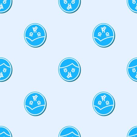 Blue line Runny nose icon isolated seamless pattern on grey background. Rhinitis symptoms, treatment. Nose and sneezing. Nasal diseases. Vector Illustration