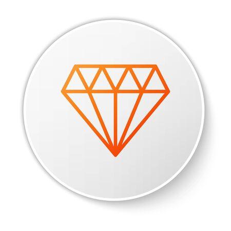 Orange line Diamond icon isolated on white background. Jewelry symbol. Gem stone. White circle button. Vector Illustration