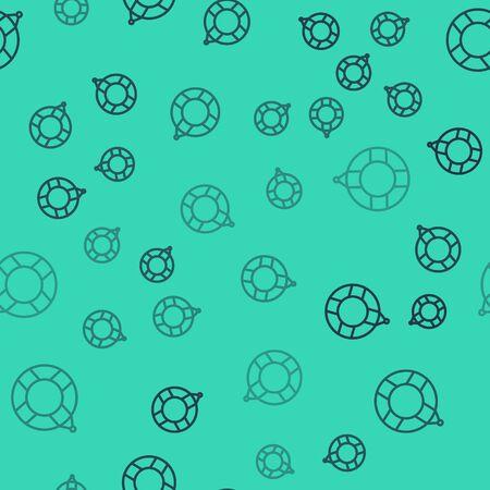 Black line Lifebuoy icon isolated seamless pattern on green background. Lifebelt symbol. Vector Illustration