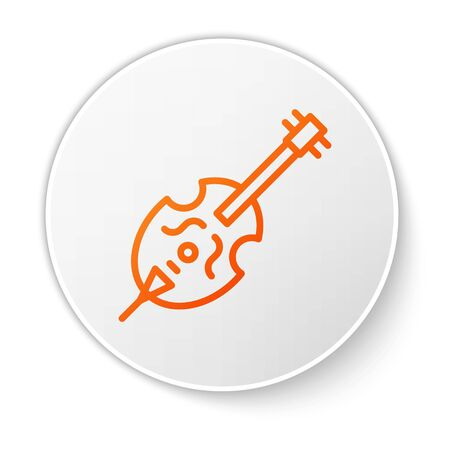 Orange line Violin icon isolated on white background. Musical instrument. White circle button. Vector Illustration