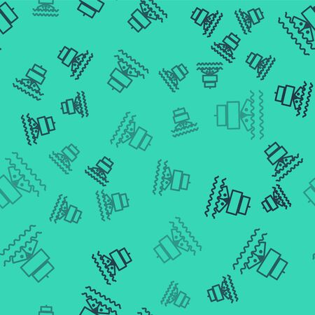Black line Ship icon isolated seamless pattern on green background. Vector Illustration
