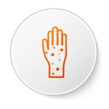 Orange line Hand with psoriasis or eczema icon isolated on white background. Concept of human skin response to allergen or chronic body problem. White circle button. Vector Illustration