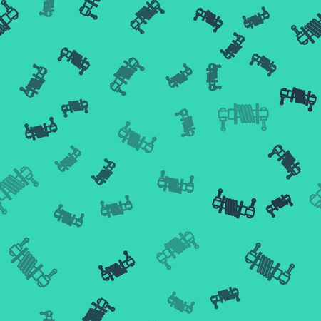 Black line Shock absorber icon isolated seamless pattern on green background. Vector Illustration