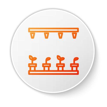 Orange line Automatic irrigation sprinklers icon isolated on white background. Watering equipment. Garden element. Spray gun icon. White circle button. Vector Illustration Vector Illustratie