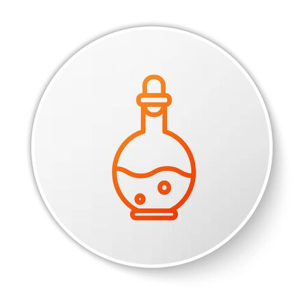 Orange line Glass bottle with magic elixir icon isolated on white background. Computer game asset. White circle button. Vector Illustration