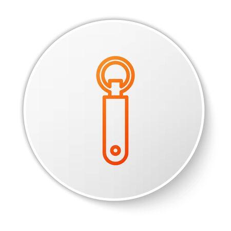 Orange line Bottle opener icon isolated on white background. White circle button. Vector Illustration Ilustração