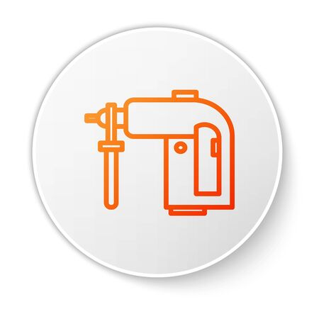 Orange line Electric rotary hammer drill machine icon isolated on white background. Working tool for construction, finishing, repair work. White circle button. Vector Illustration Illustration