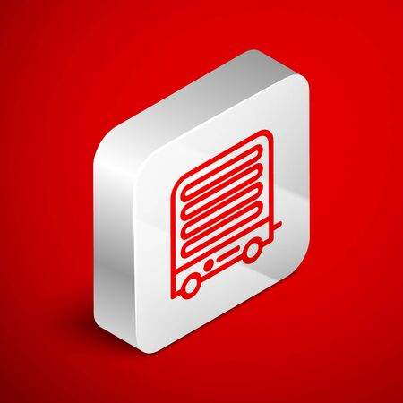 Isometric line Electric heater icon isolated on red background. Infrared floor heater with remote control. House climate control. Silver square button. Vector Illustration Illustration