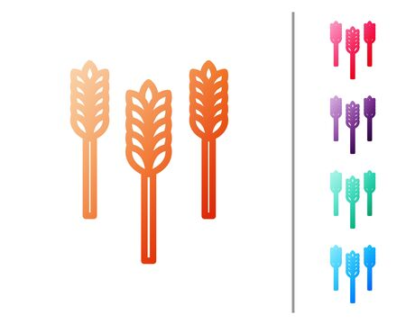 Red line Cereals set with rice, wheat, corn, oats, rye, barley icon isolated on white background. Ears of wheat bread symbols. Set color icons. Vector Illustration