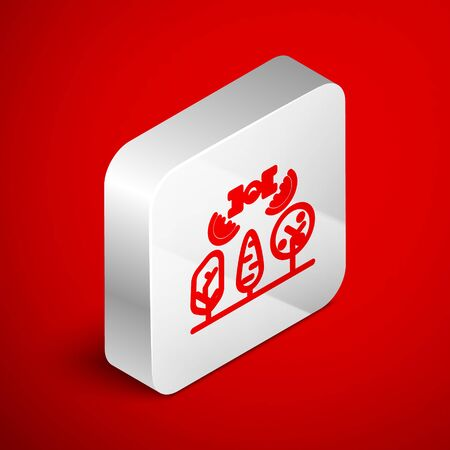 Isometric line Smart farm with drone control and tree icon isolated on red background. Innovation technology for agricultural company. Silver square button. Vector Illustration