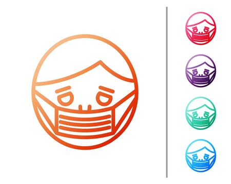 Red line Man face in a medical protective mask icon isolated on white background. Quarantine. Set color icons. Vector Illustration