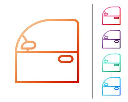 Red line Car door icon isolated on white background. Set color icons. Vector Illustration