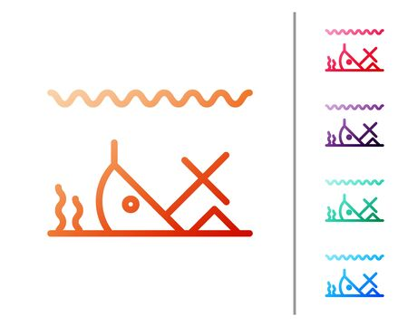 Red line Sunken ship at the bottom of the sea icon isolated on white background. Set color icons. Vector Illustration Vectores