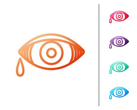 Red line Reddish eye due to viral, bacterial or allergic conjunctivitis icon isolated on white background. Set color icons. Vector Illustration Иллюстрация