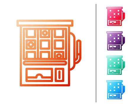 Red line Slot machine icon isolated on white background. Set color icons. Vector Illustration