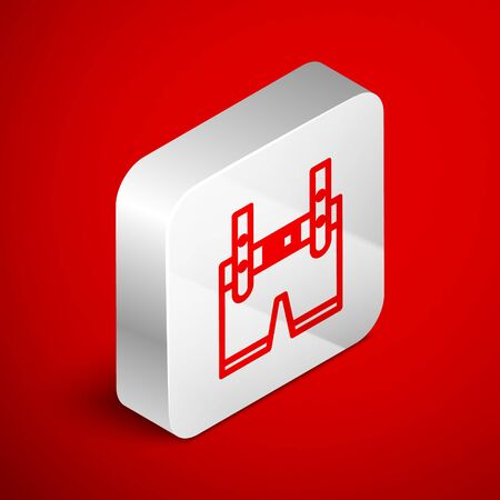 Isometric line Lederhosen icon isolated on red background. Traditional bavarian clothing. Oktoberfest outfit. Pants with suspenders. Patrick day. Silver square button. Vector Illustration
