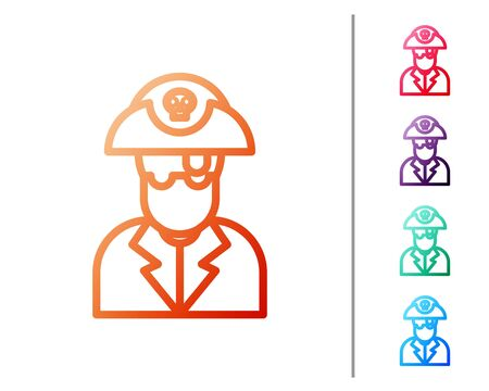 Red line Pirate captain icon isolated on white background. Set color icons. Vector Illustration