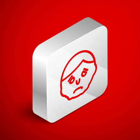 Isometric line Inflammation on face icon isolated on red background. Silver square button. Vector Illustration