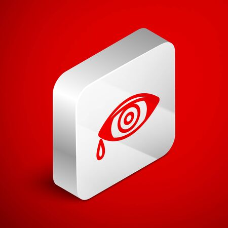Isometric line Reddish eye due to viral, bacterial or allergic conjunctivitis icon isolated on red background. Silver square button. Vector Illustration Stock Illustratie