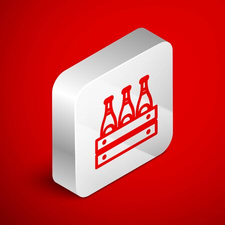 Isometric line Pack of beer bottles icon isolated on red background. Wooden box and beer bottles. Case crate beer box sign. Silver square button. Vector Illustration Illustration