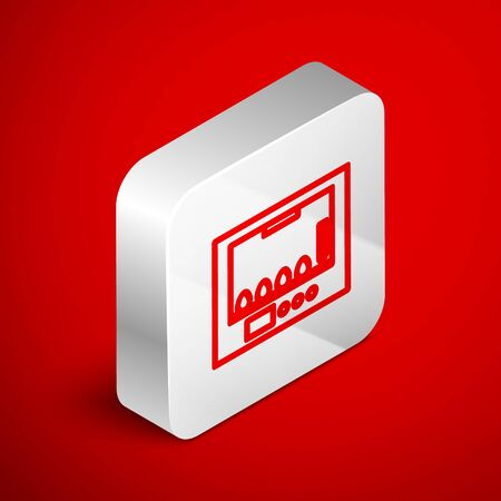 Isometric line Incubator for eggs icon isolated on red background. Silver square button. Vector Illustration