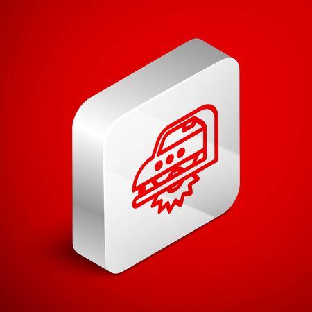 Isometric line Electric circular saw with steel toothed disc icon isolated on red background. Electric hand tool for cutting wood or metal. Silver square button. Vector Illustration