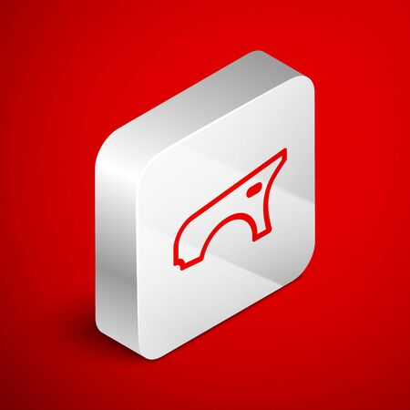 Isometric line Car fender icon isolated on red background. Silver square button. Vector Illustration