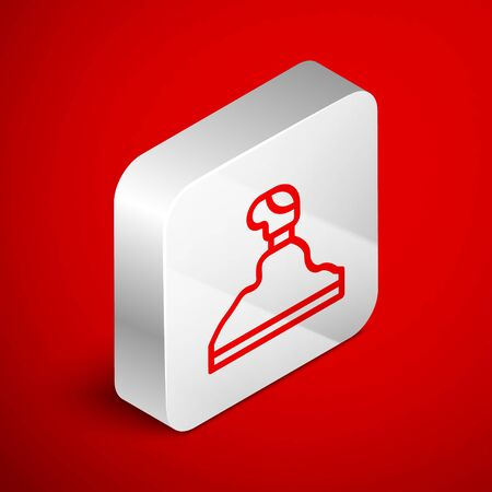 Isometric line Gear shifter icon isolated on red background. Transmission icon. Silver square button. Vector Illustration