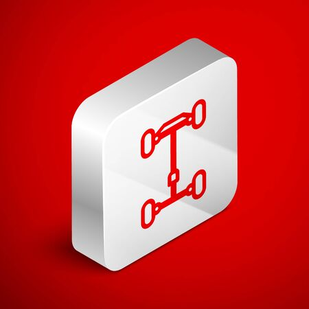 Isometric line Chassis car icon isolated on red background. Silver square button. Vector Illustration