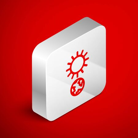 Isometric line Solstice icon isolated on red background. Silver square button. Vector Illustration