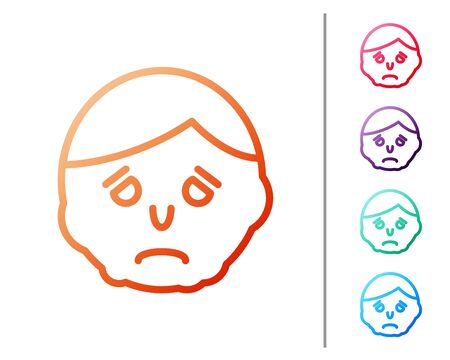 Red line Inflammation on face icon isolated on white background. Set color icons. Vector Illustration