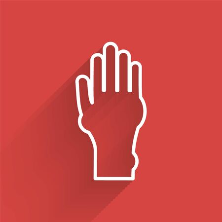 White line Hand with psoriasis or eczema icon isolated with long shadow. Concept of human skin response to allergen or chronic body problem. Vector Illustration