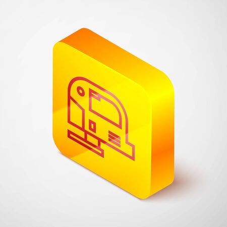 Isometric line Electric jigsaw with steel sharp blade icon isolated on grey background. Power tool for woodwork. Yellow square button. Vector Illustration