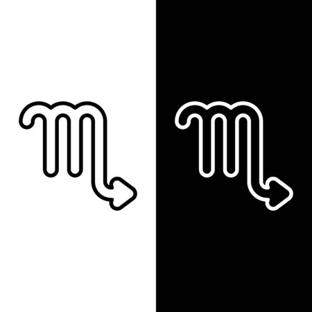 Set line Scorpio zodiac sign icon isolated on black and white background. Astrological horoscope collection. Vector Illustration