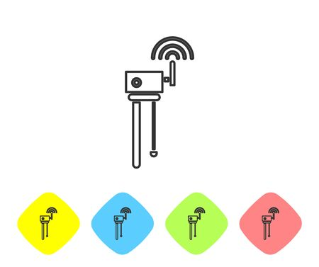 Grey line Router and wi-fi signal symbol icon isolated on white background. Wireless ethernet modem router. Computer technology internet. Set icons in color rhombus buttons. Vector Illustration