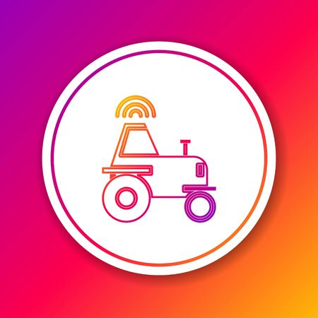 Color line Self driving wireless tractor on a smart farm icon isolated on color background. Smart agriculture implement element. Circle white button. Vector Illustration