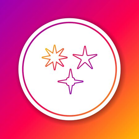 Color line Falling star icon isolated on color background. Meteoroid, meteorite, comet, asteroid, star icon. Circle white button. Vector Illustration