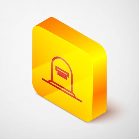 Isometric line Tombstone with RIP written on it icon isolated on grey background. Grave icon. Yellow square button. Vector Illustration Stock Illustratie