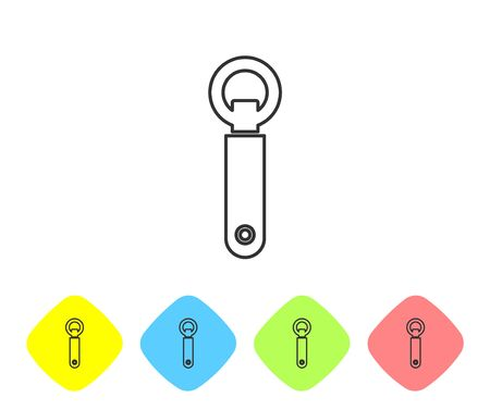 Grey line Bottle opener icon isolated on white background. Set icons in color rhombus buttons. Vector Illustration