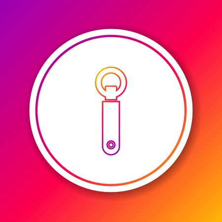 Color line Bottle opener icon isolated on color background. Circle white button. Vector Illustration