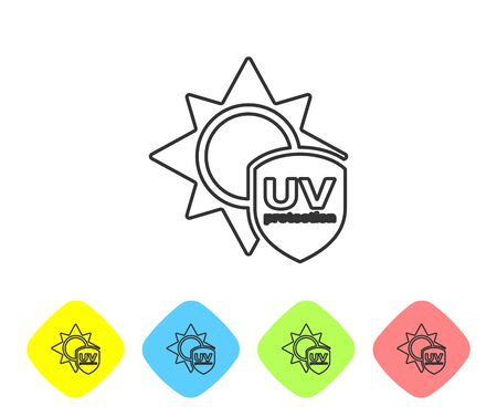 Grey line UV protection icon isolated on white background. Sun and shield. Ultra violet rays radiation. SPF sun sign. Set icons in color rhombus buttons. Vector Illustration