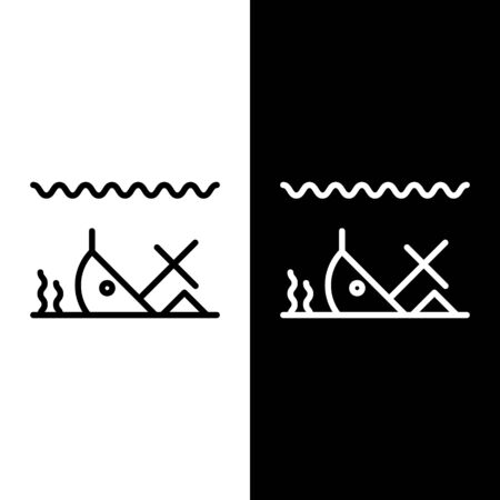 Set line Sunken ship at the bottom of the sea icon isolated on black and white background. Vector Illustration