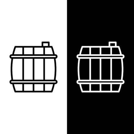 Set line Wooden barrel icon isolated on black and white background. Alcohol barrel, drink container, wooden keg for beer, whiskey, wine. Vector Illustration