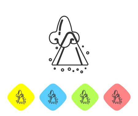 Grey line Runny nose icon isolated on white background. Rhinitis symptoms, treatment. Nose and sneezing. Nasal diseases. Set icons in color rhombus buttons. Vector Illustration