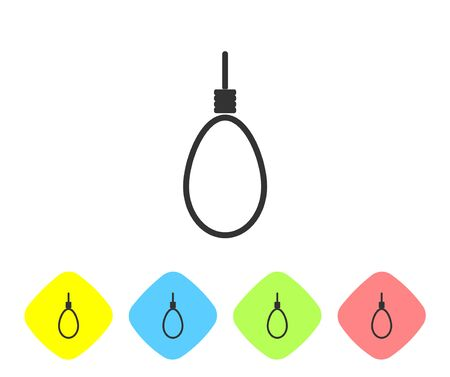 Grey line Gallows rope loop hanging icon isolated on white background. Rope tied into noose. Suicide, hanging or lynching. Set icons in color rhombus buttons. Vector Illustration