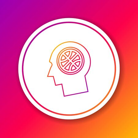 Color line Thoughts on a basketball icon isolated on color background. Circle white button. Vector Illustration