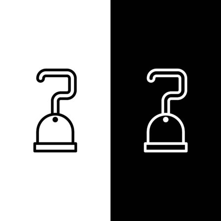 Set line Pirate hook icon isolated on black and white background. Vector Illustration Illustration